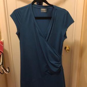 Blue athleta wrap style dress size large